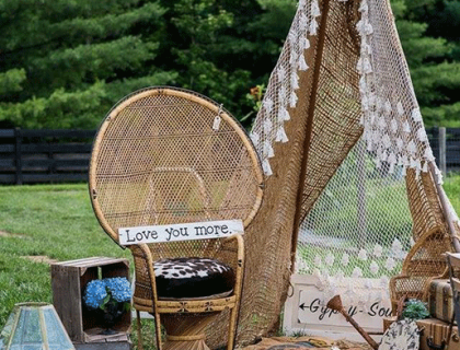 Boho teepee and peacock chair